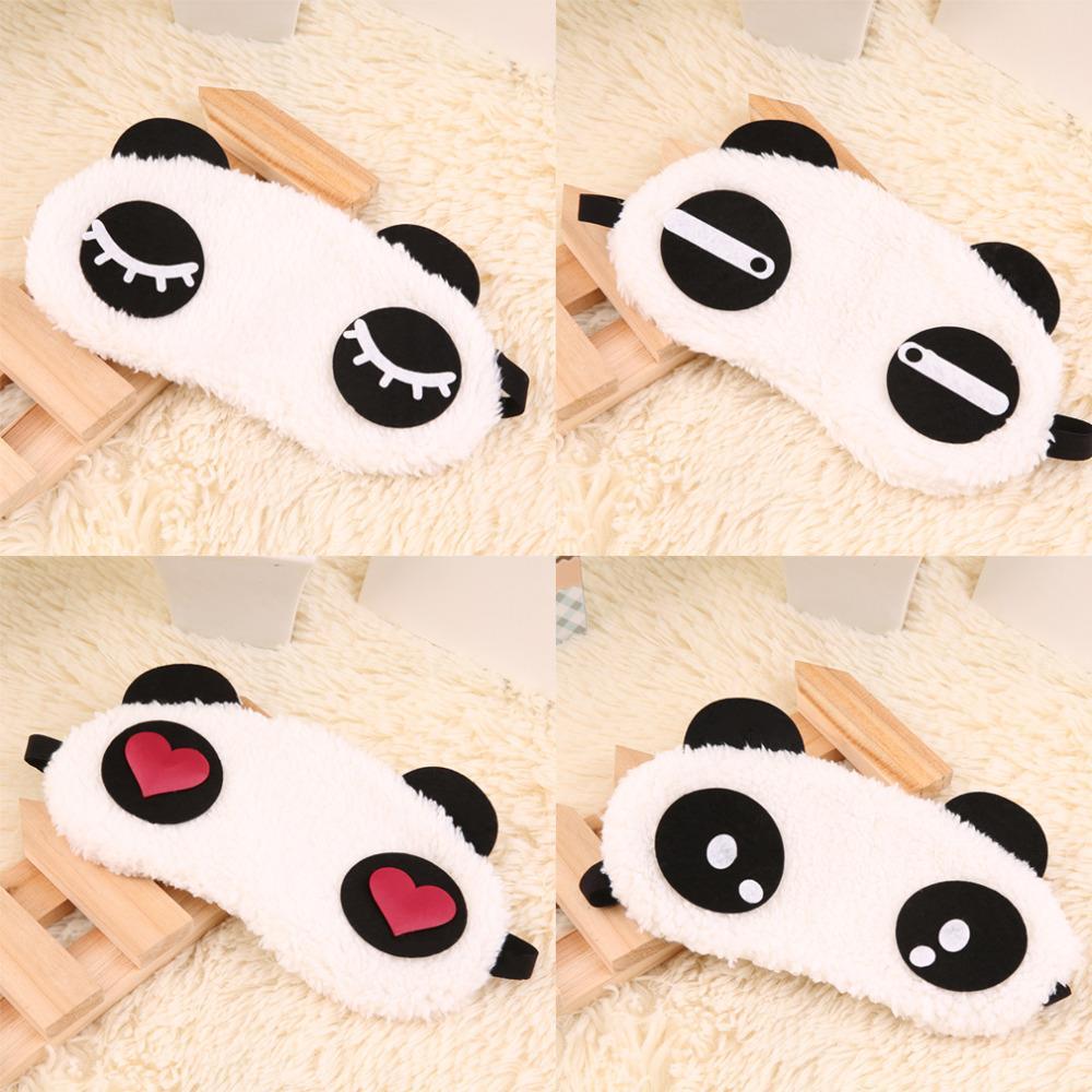 4 types cute design plush panda face eye mask travel sleeping soft eyeshade blindfold shade portable